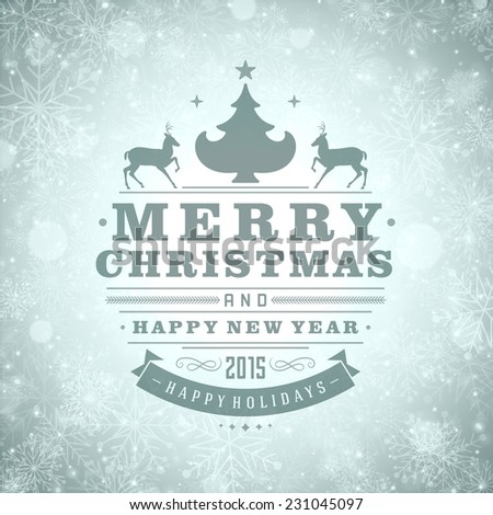 Christmas Light and Snowflakes Background Retro Typography. Merry Christmas holidays wish greeting card design and vintage ornament decoration. Happy new year message. Vector illustration Eps 10. - stock vector