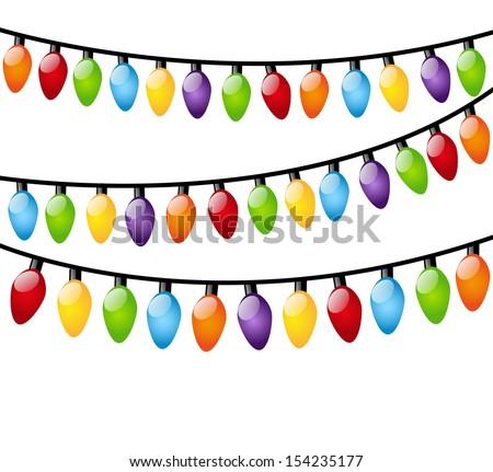 Christmas light bulbs on white - stock vector