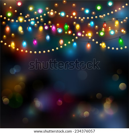 Christmas lights background. Vector  - stock vector