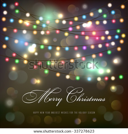 Christmas lights background.Vector - stock vector