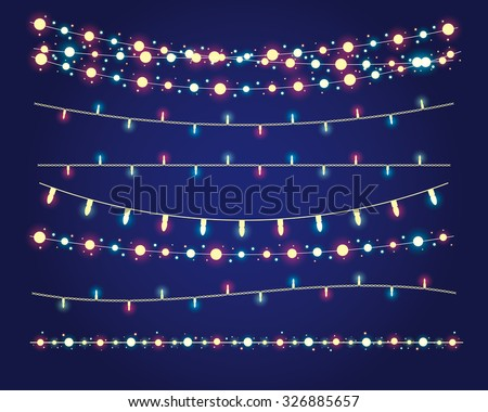 christmas lights festive decorations. vector set eps10 - stock vector