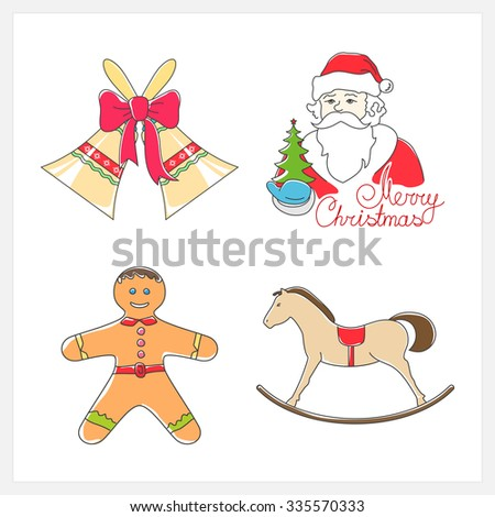 Christmas Line Style Icons ,Holiday Jingle Bells, Santa Claus Holds in a Hand Green Christmas Tree, Rocking Horse,  Cookie Gingerbread Man Decorated Icing and Cream, Vector Illustration - stock vector