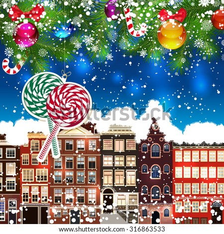 Christmas lollipops on the background of snow-covered streets. Green branches of Christmas trees decorated with Christmas balls and sweets. Christmas background. - stock vector