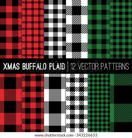 Christmas Lumberjack Buffalo Check Plaid and Pixel Gingham Patterns in Red, Green, White and Black. Trendy Hipster Style Xmas Textures. Vector EPS File Pattern Swatches made with Global Colors. - stock vector