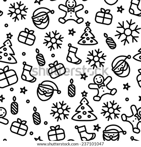 Christmas magic pattern with different winter attributes, such as snowflakes, christmas tree, Santa Claus, Christmas gifts, Christmas Stocking and candle. Vector illustration - stock vector