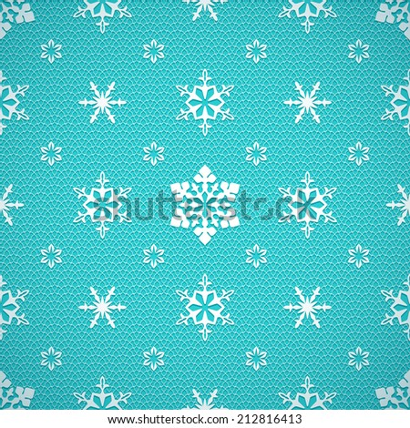 Christmas mesh lace seamless pattern with openwork snowflakes on turquoise background - stock vector