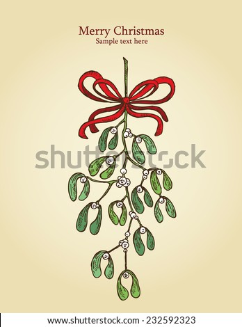 Christmas mistletoe, a sprig of mistletoe. drawing - stock vector