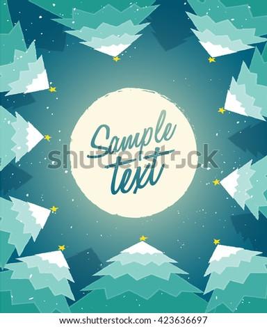 Christmas Moonlight Background : Vector Illustration - stock vector