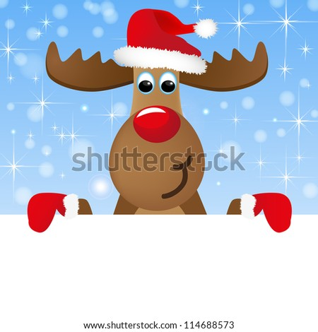 Christmas moose holds card - stock vector