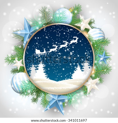 christmas motive, abstract winter landscape and santa's sleigh in rounded decorative frame with green branches, white baubles and stars, vector illustration, eps 10 with transparency and gradient - stock vector