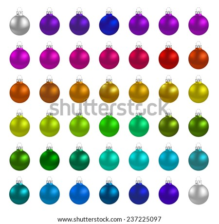 Christmas multicolor balls on white background  - stock vector