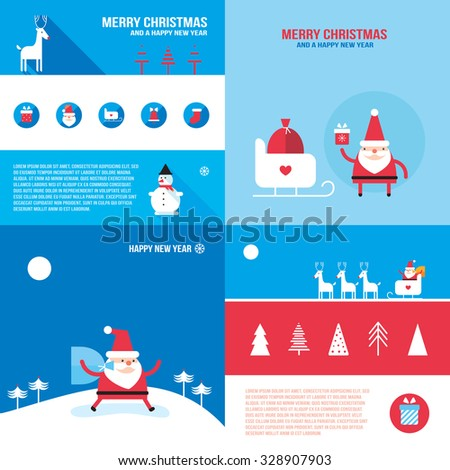 Christmas New Year banner set Santa Claus presents gifts - stock vector