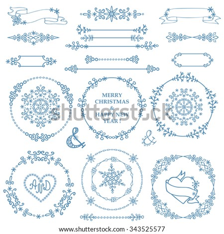Christmas,New year decor elements set.Circle frame wreath.Doodles border,arrows.For design templates,invitations,wedding,Valentines day,holidays,menu,birthday.Winter love Vector - stock vector