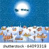 christmas night with santa and his reindeer - stock vector