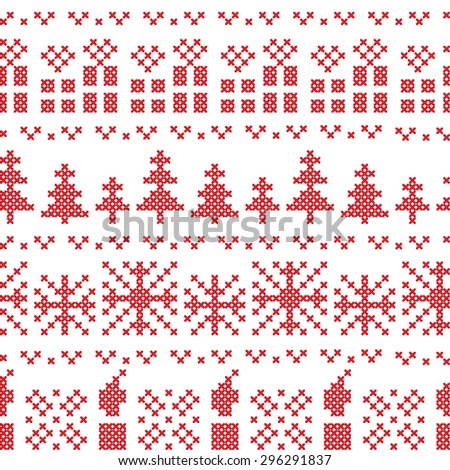 Christmas Nordic horizontal seamless cross stitch pattern, embroidery in red with Xmas gifts, candles, snowflakes, stars - stock vector