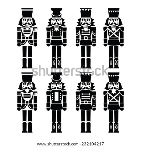 Christmas nutcracker - soldier figurine black icons set - stock vector