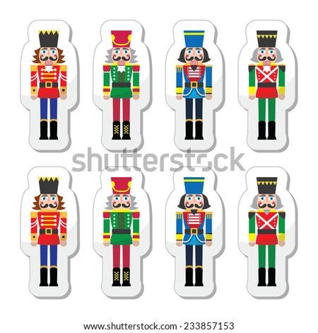 Christmas nutcracker - soldier figurine icons set - stock vector