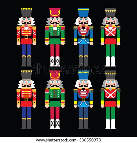 Christmas nutcracker - soldier figurine icons set on black  - stock vector