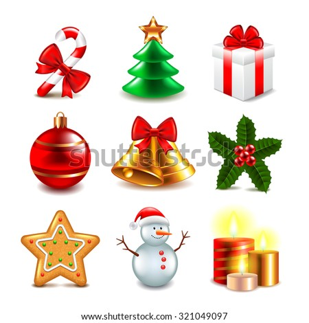 Christmas objects photo realistic vector vector set - stock vector