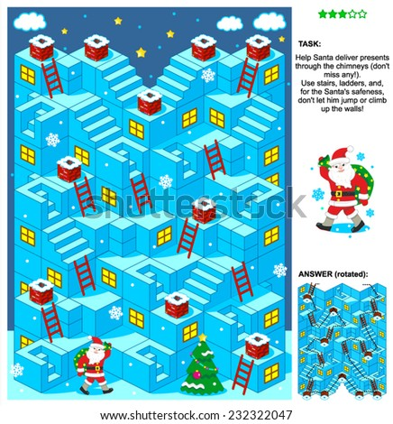 Christmas or New Year themed 3d maze game with stairs, ladders and Santa delivering presents through the chimneys. Answer included.  - stock vector