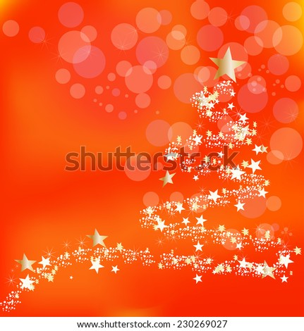 Christmas orange background with abstract new year's tree and stars - stock vector