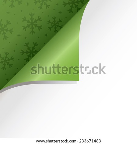 christmas ornament with page fold revealing green snowflake background - stock vector