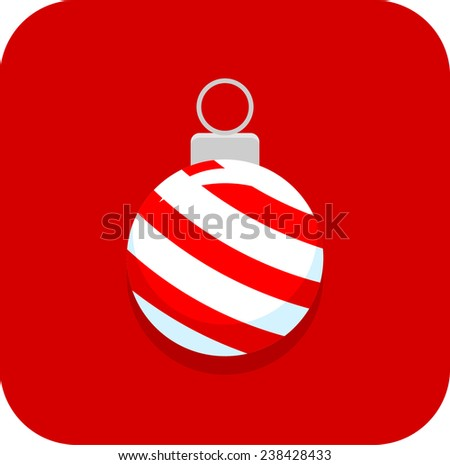 Christmas ornament with peppermint candy cane pattern icon - stock vector