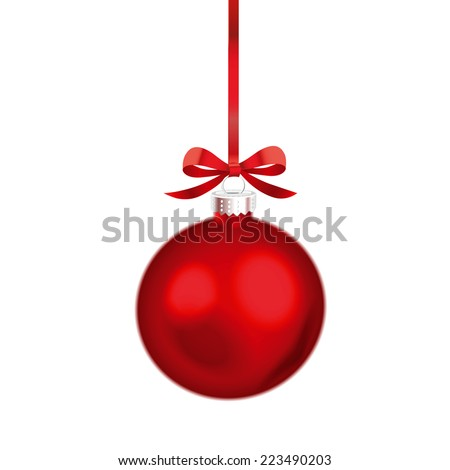 Christmas ornament with red ribbon. Vector Illustration. - stock vector