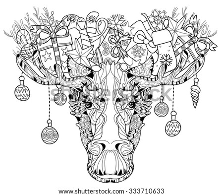 Christmas ornamental head of elk. Black-and-white doodle. Layered vector illustration. - stock vector