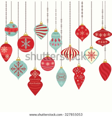 Christmas Ornaments,Christmas Balls Decorations,Christmas Hanging Decoration set. - stock vector