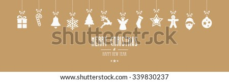 christmas ornaments hanging gold isolated background - stock vector