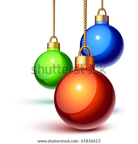 Christmas ornaments hanging over white - stock vector
