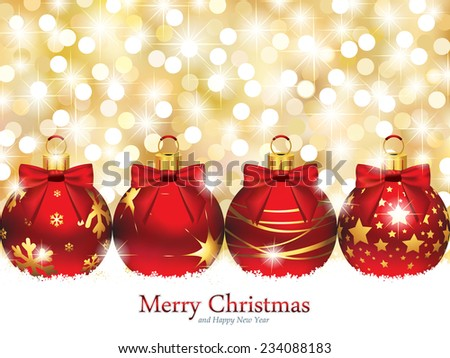 Christmas Ornaments in front of Defocused Lights - EPS 10 - stock vector