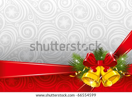 Christmas ornate background with gold bells - stock vector