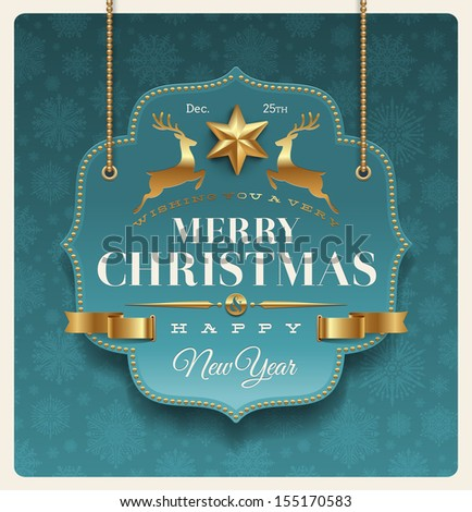 Christmas ornate labels with holidays greeting - vector illustration - stock vector