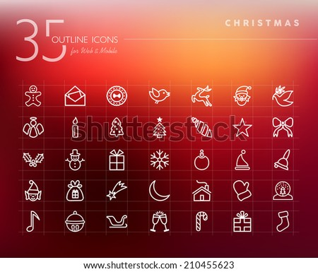 Christmas outline icons set for web and mobile app. EPS10 vector file organized in layers for easy editing. - stock vector