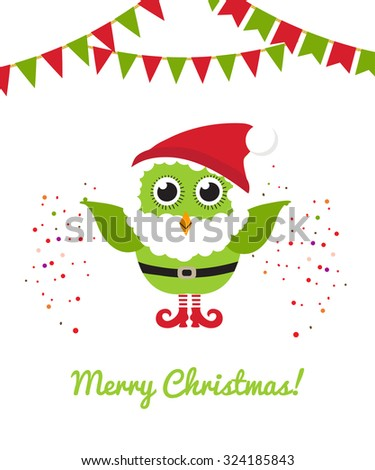 Christmas owl in Santa hat and beard. Vector holiday illustration. Christmas card - stock vector