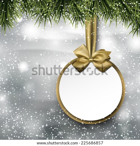 Christmas paper card. Winter snowy background with spruce twigs. Vector illustration.  - stock vector
