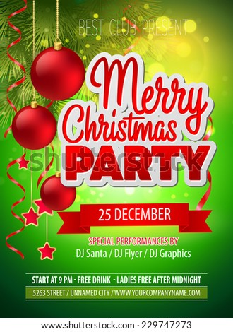 Christmas party flyer. Vector template - stock vector