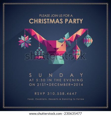 Christmas Party Invitation Card. - stock vector