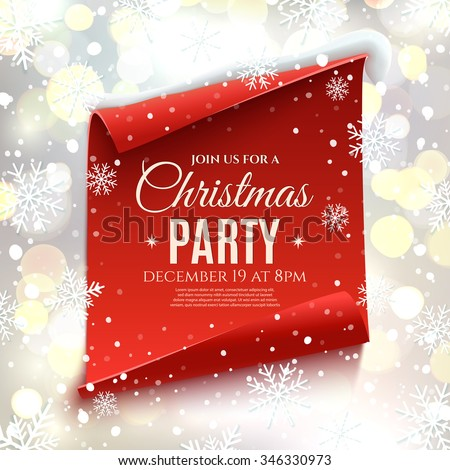 Christmas party invitation. Red, curved, paper banner on winter background with snow and snowflakes. Bokeh circles.  Vector illustration. - stock vector