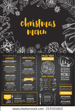Christmas party invitation restaurant, menu design. Vector template with graphic. - stock vector