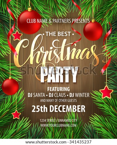 Christmas Party poster design template. Vector illustration EPS10 - stock vector