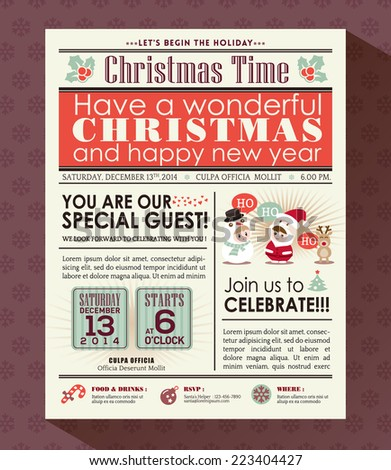 Christmas party poster invite background in newspaper style - stock vector