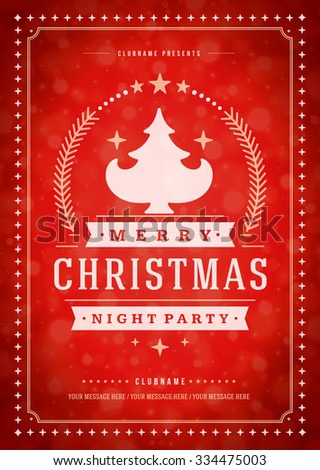 Christmas party poster retro typography and ornament decoration. Christmas holidays flyer or invitation design. Vector illustration. - stock vector