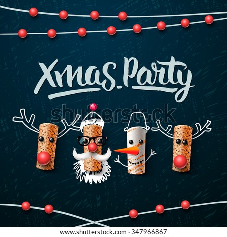 Christmas party template, Christmas characters, Santa Claus, snowman and reindeer, made from wine cork, vector illustration. - stock vector