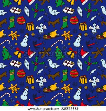 Christmas pattern blue - stock vector