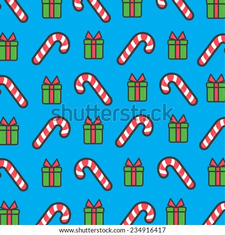 Christmas pattern,  candy and gift box  - stock vector