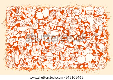 Christmas pattern. Doodle background with balloon, bells, sweets, christmas socks, gift, mittens, envelope, letter, tree, star, candle, bird, snowman, ball, bow, heart and Santa Claus.  - stock vector