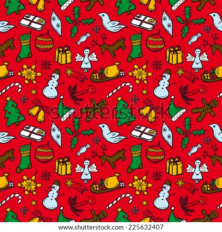 Christmas pattern red - stock vector